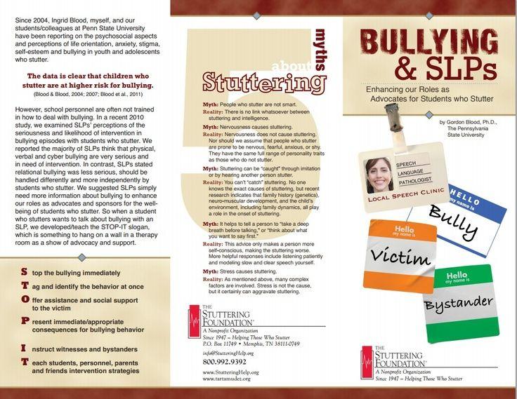Bullying & SLPs Brochure From The Stuttering Foundation Fluency