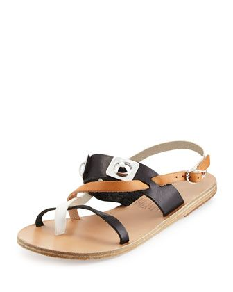 1141f0ffd Peter Pilotto Alethea Colorblock Leather Flat Sandal