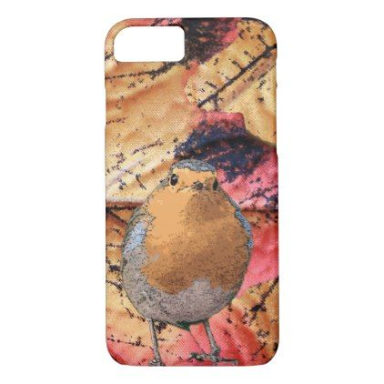 Modern cool abstract Robin bird orange pattern iPhone 8/7 Case - modern gifts cyo gift ideas personalize