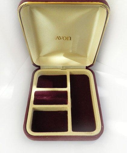 Vintage AVON Compact Jewelry BoxTravel Jewelry Case Purple Velvet