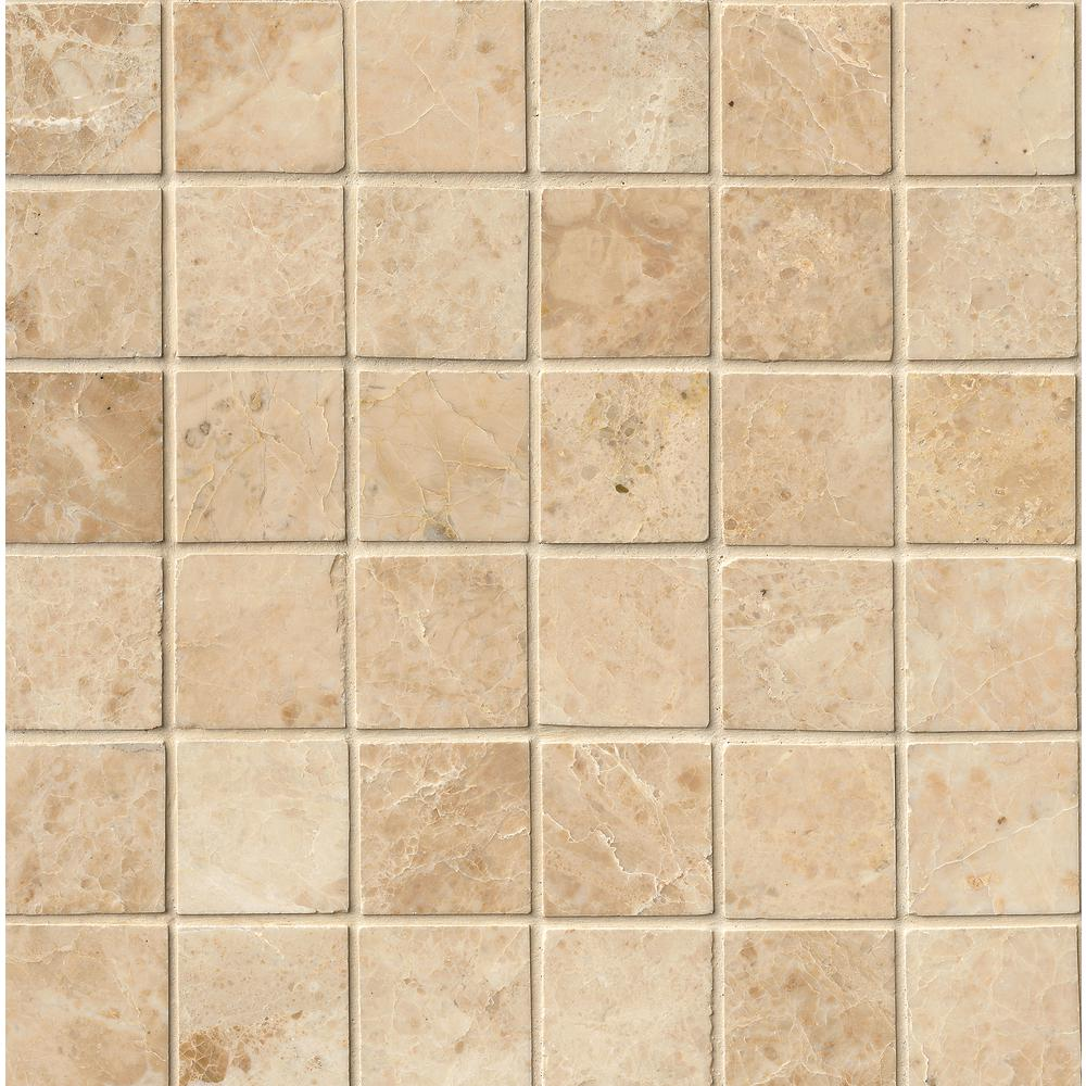 Msi Crema Cappuccino 12 In X 12 In X 10mm Polished Marble Mesh Mounted Mosaic Tile 10 Sq Ft Case Crecap 2x2p Mosaic Tiles Tiles Marble Mosaic