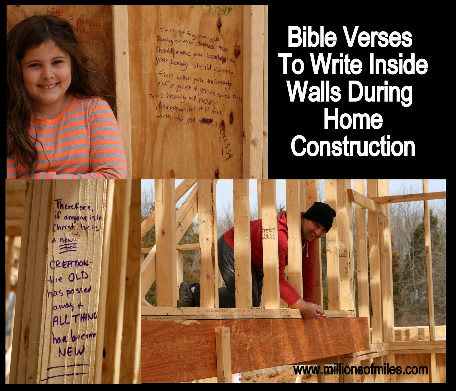 Write Bible verses in the studs of new home during construction to ...