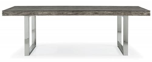 Bernhardt Dining Table  Tempered Glass Top With Eased Edges And Corners.  Railroad Tie Design Top In Gray Pearl Finish. Polished Stainless Steel  Finish Base.