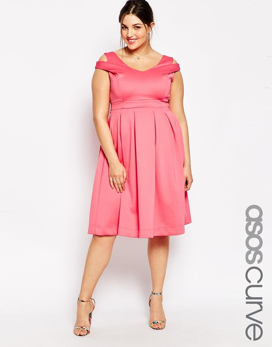 Image 1 of ASOS CURVE Cross Over Debutante Midi Dress | Let\'s Party ...
