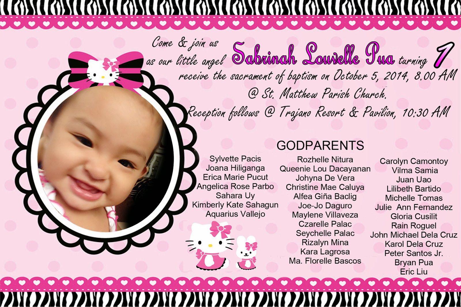 Hello Kitty 1St Birthday Invitations | Hello Kitty Invitation For Christening And 1st Birthday Randy