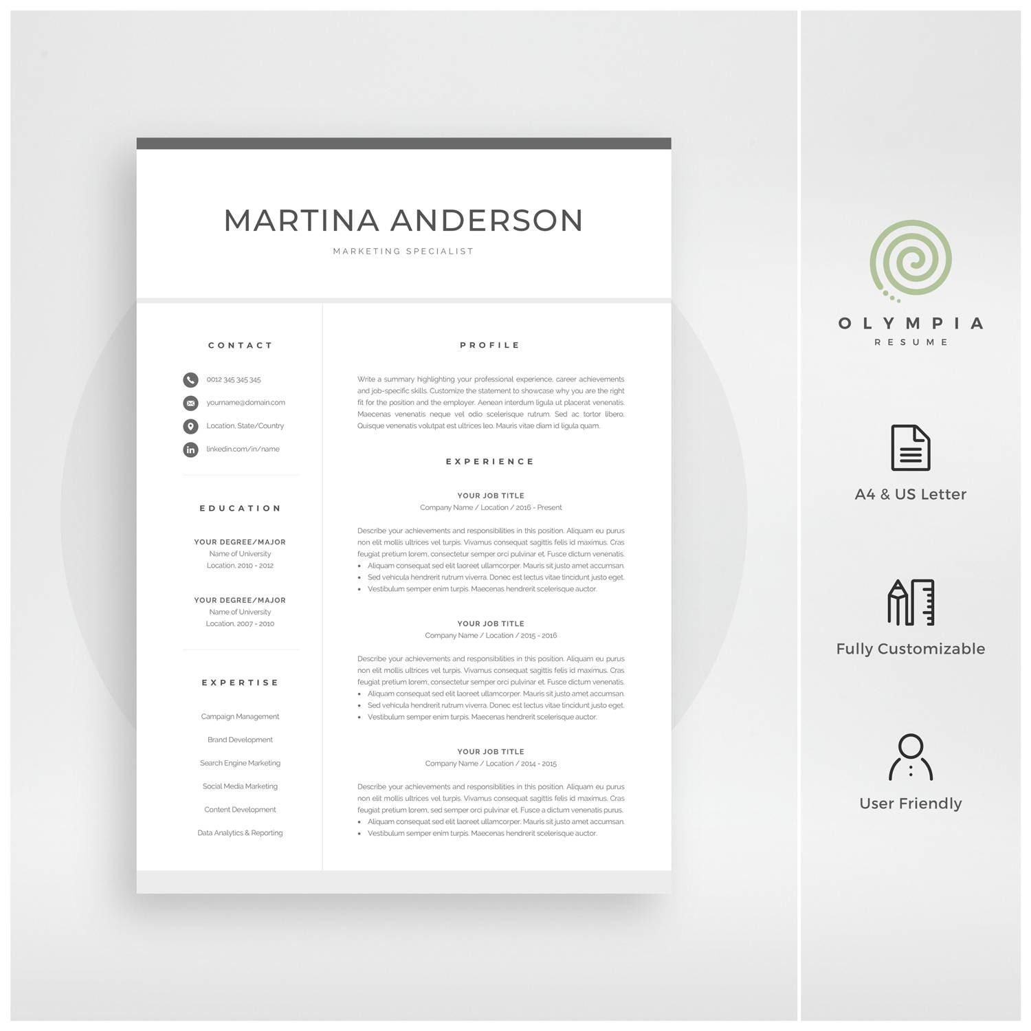 Modern Resume Template | Professional CV Template for Word | Cover ...