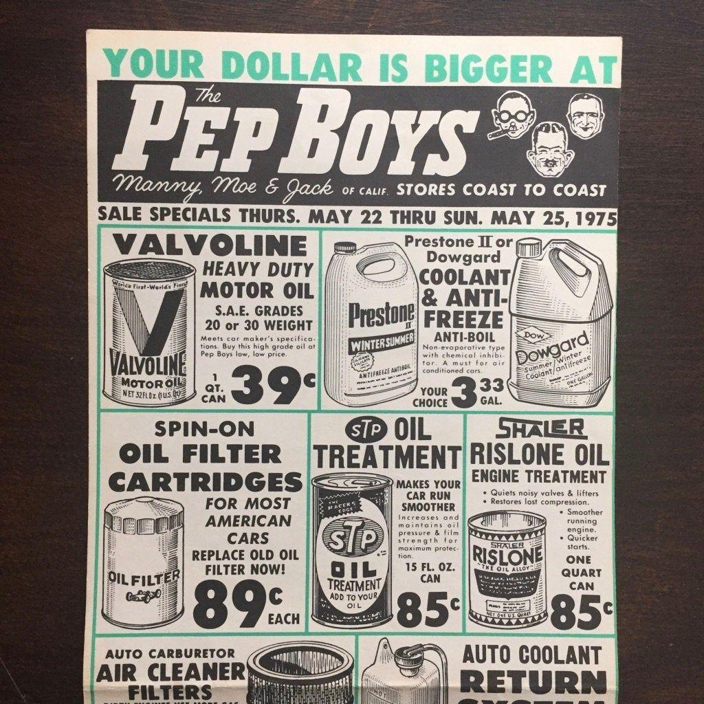 Vintage 1970s Pep Boys Auto Parts Car Care Service Advertising