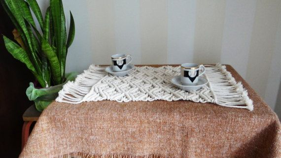 Macrame Coffee Table Runner Macrame By Macramemoderndecor On Etsy