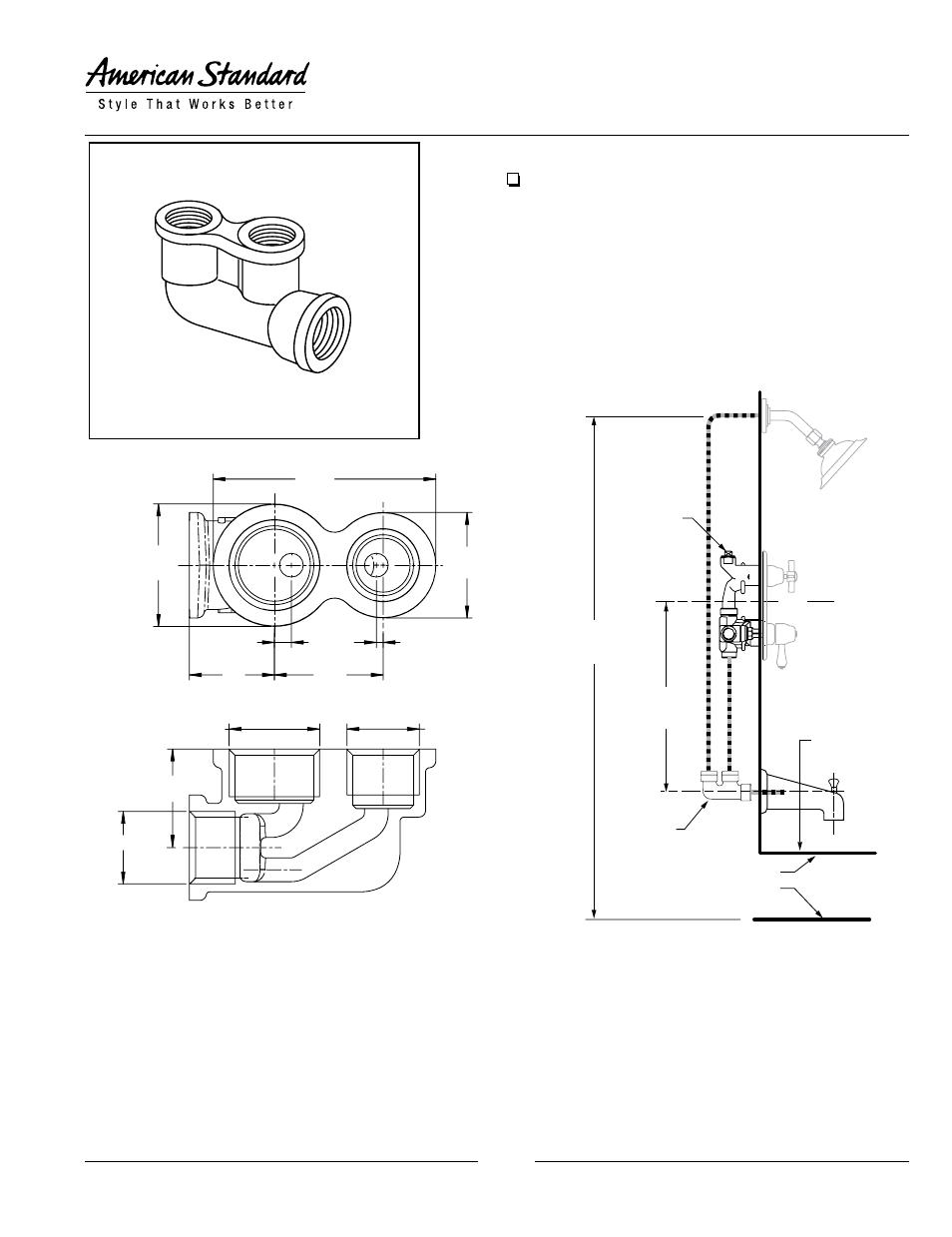 American Standard Twin Ell 8888 120 User Manual 1 Page American Standard Shower Installation Manual