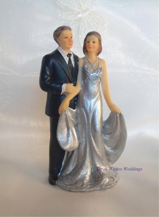 Silver anniversary dresses home cake toppers for Dress for 25th wedding anniversary