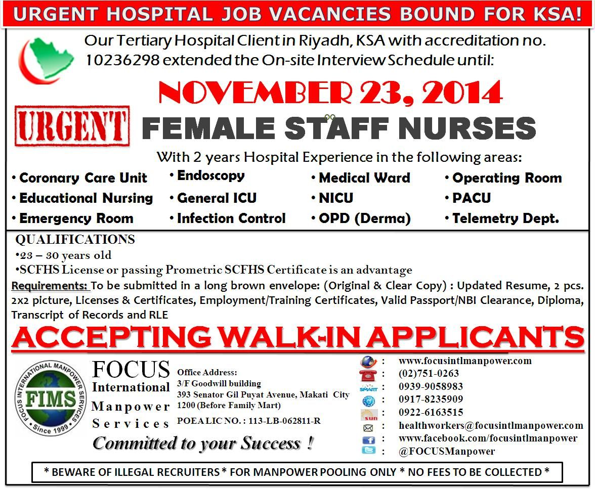 Extended Employer S Interview Urgent Vacancies Open For Female Rn Bound For Riyadh Ksa We Accept Walk In App Hospital Jobs Overseas Jobs Job Opportunities