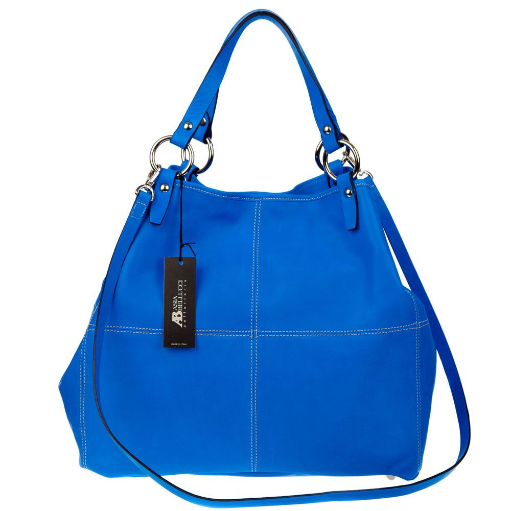 ASIA BELLUCCI Italian Made Blue Leather Oversized Shopper Tote ...