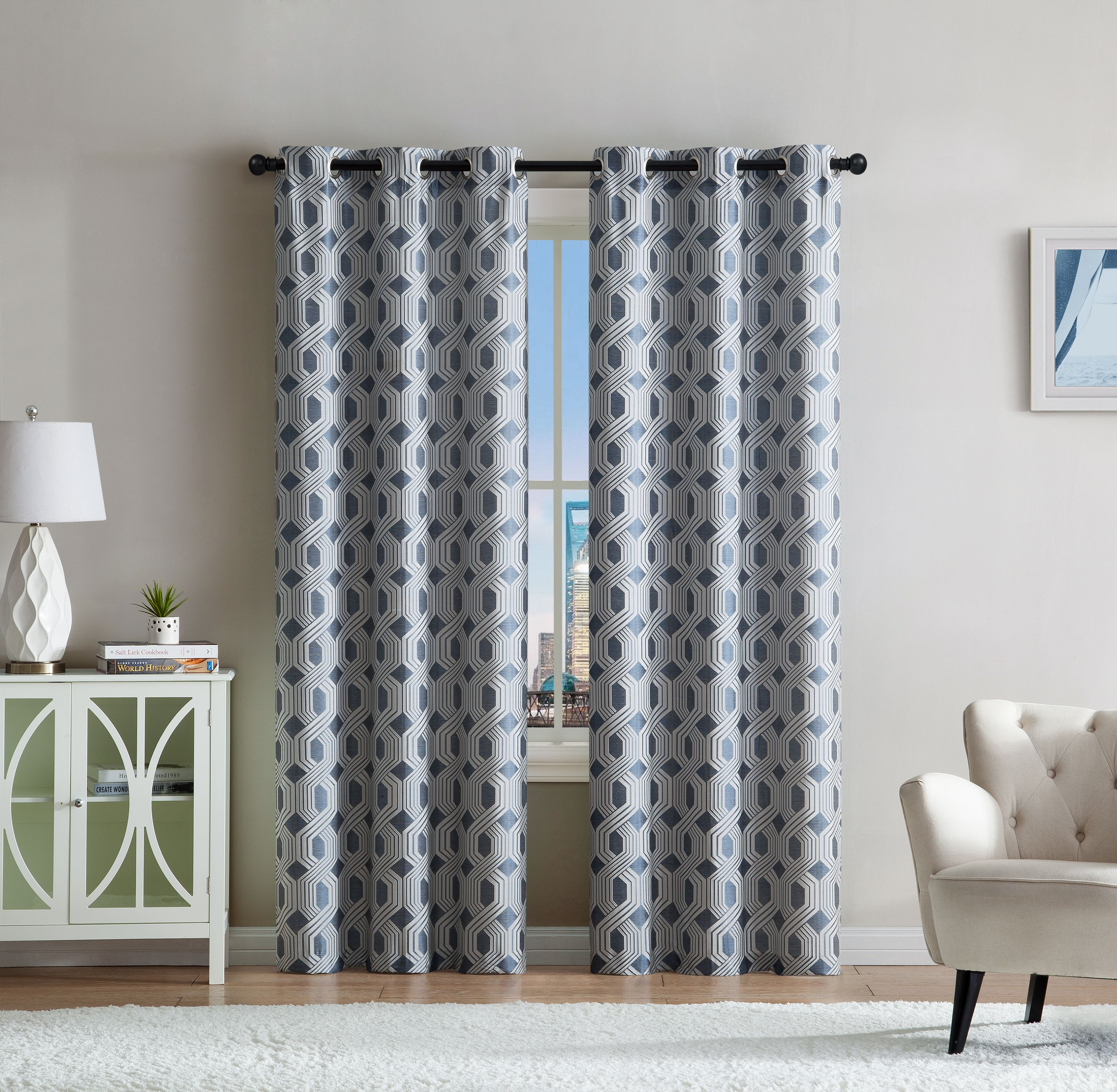 Victoria Classics Eli Jacquard Faux Silk 2 Piece Window Curtain