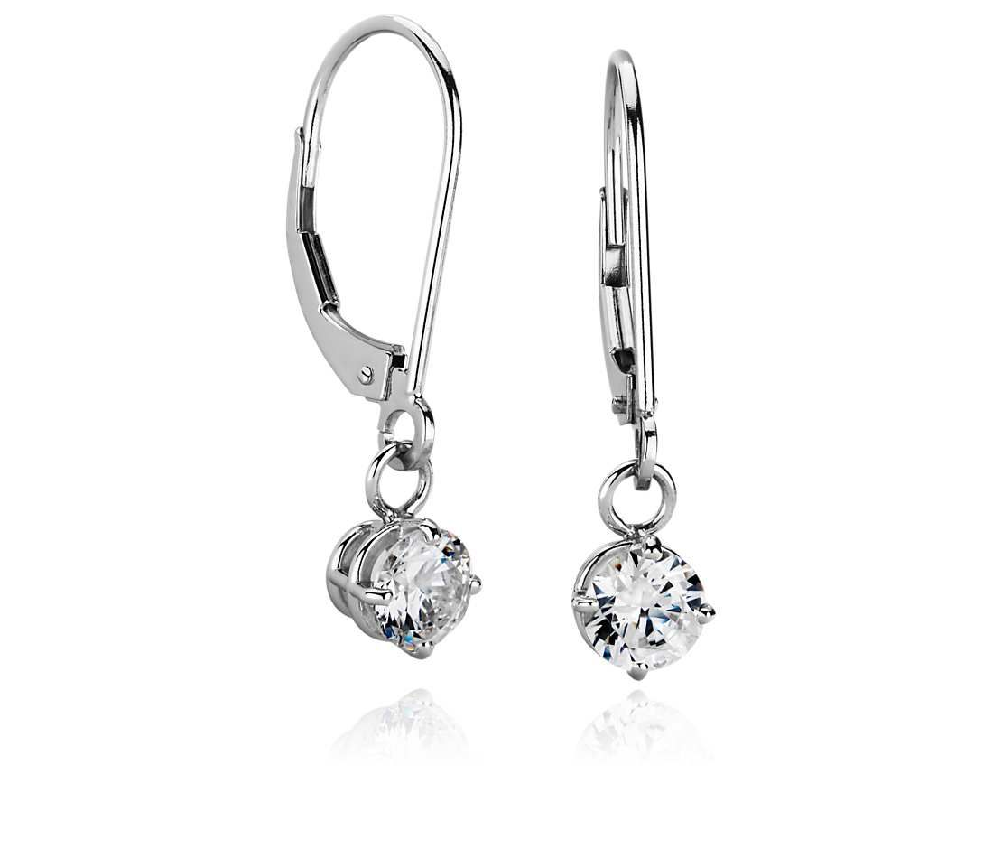 Four Prong Leverback Drop Earrings In Platinum In