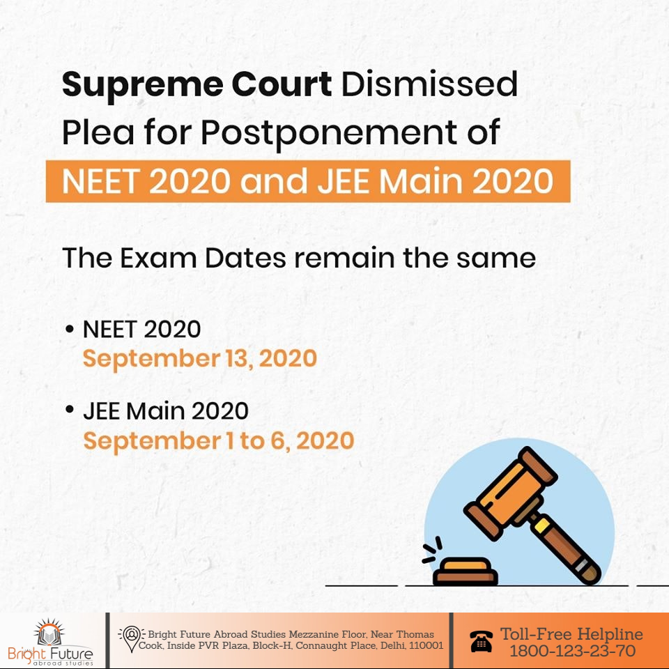 Supreme Court Dismissed Plea For Postponement Of Neet 2020 And Jee Main 2020 In 2020 Neet Exam Medical Education Future Doctor