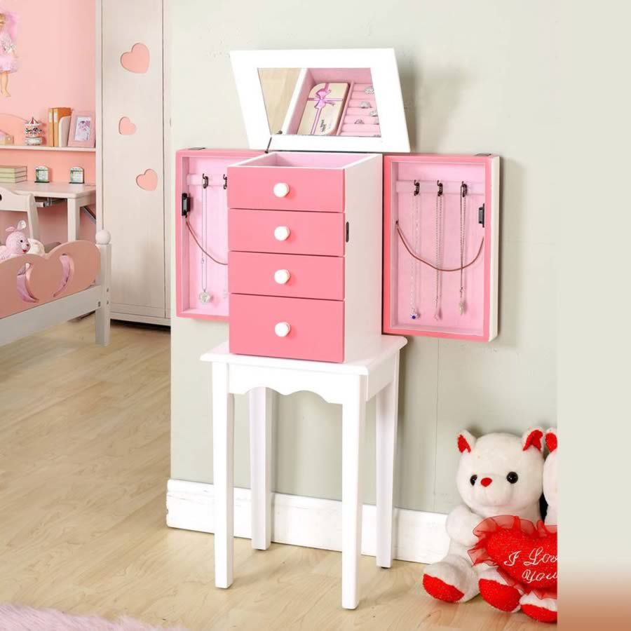 My Little Girl Jewelry Armoire Wood Pink On Specail: $124
