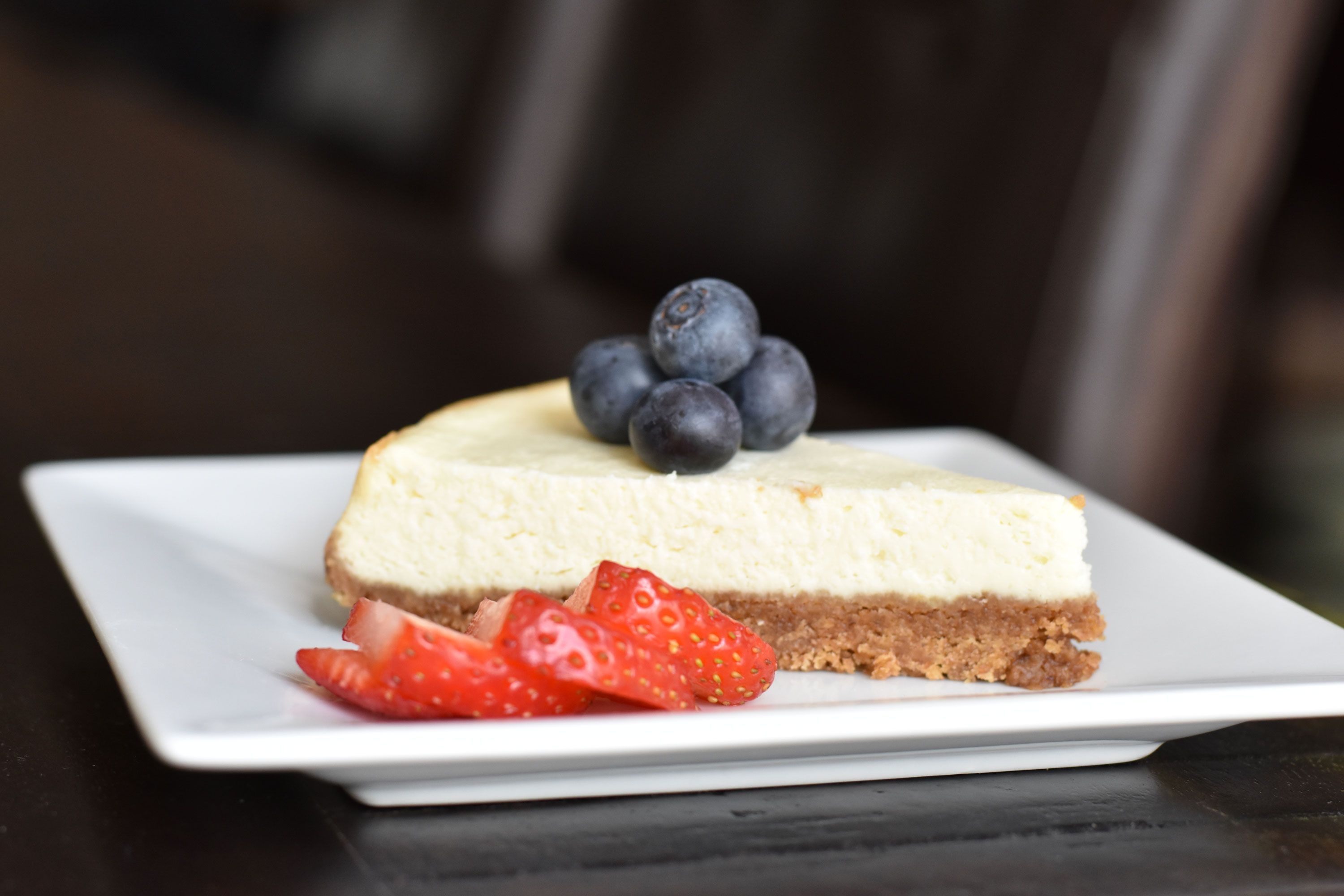 """Skinny Cheesecake- Sweet and crisp crust with a rich and smooth cream cheese filling- slice of decadence! In this 'Skinny"""" version, I've halved the calories- enjoy!"""