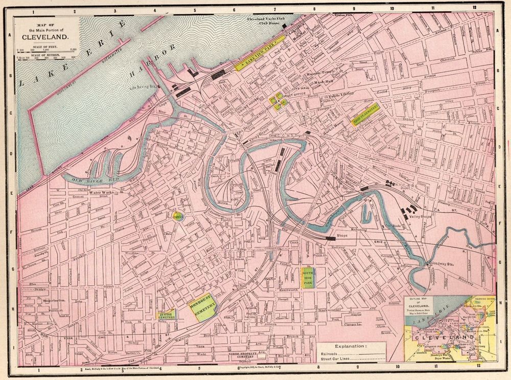 1902 Antique Cleveland Map 1900s Vintage Collectible Map Of - Cleveland-on-us-map