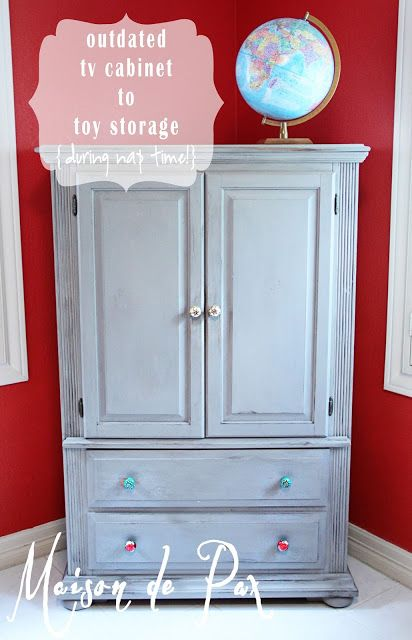 Gray Toy Storage Armoire Makeover
