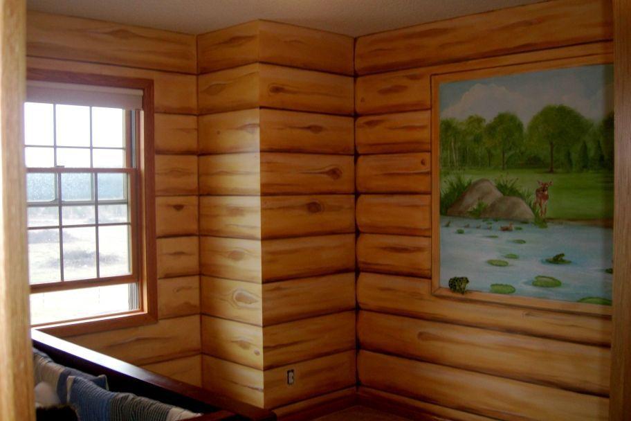 Faux Log Cabin Walls/ Mural  Boys Nursery   Mural Idea In Twin Cities MN