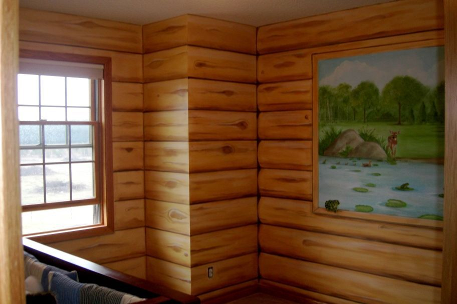 Nice Faux Log Cabin Walls/ Mural  Boys Nursery   Mural Idea In Twin Cities MN