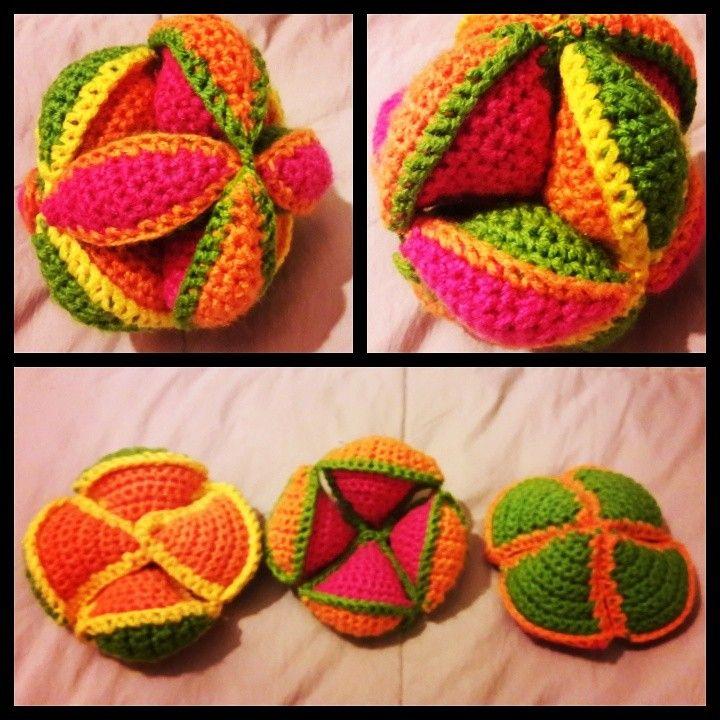 Pelota Montessori tejida a Crochet ⚽ 😍 (Puzzle Ball) Juguete ...