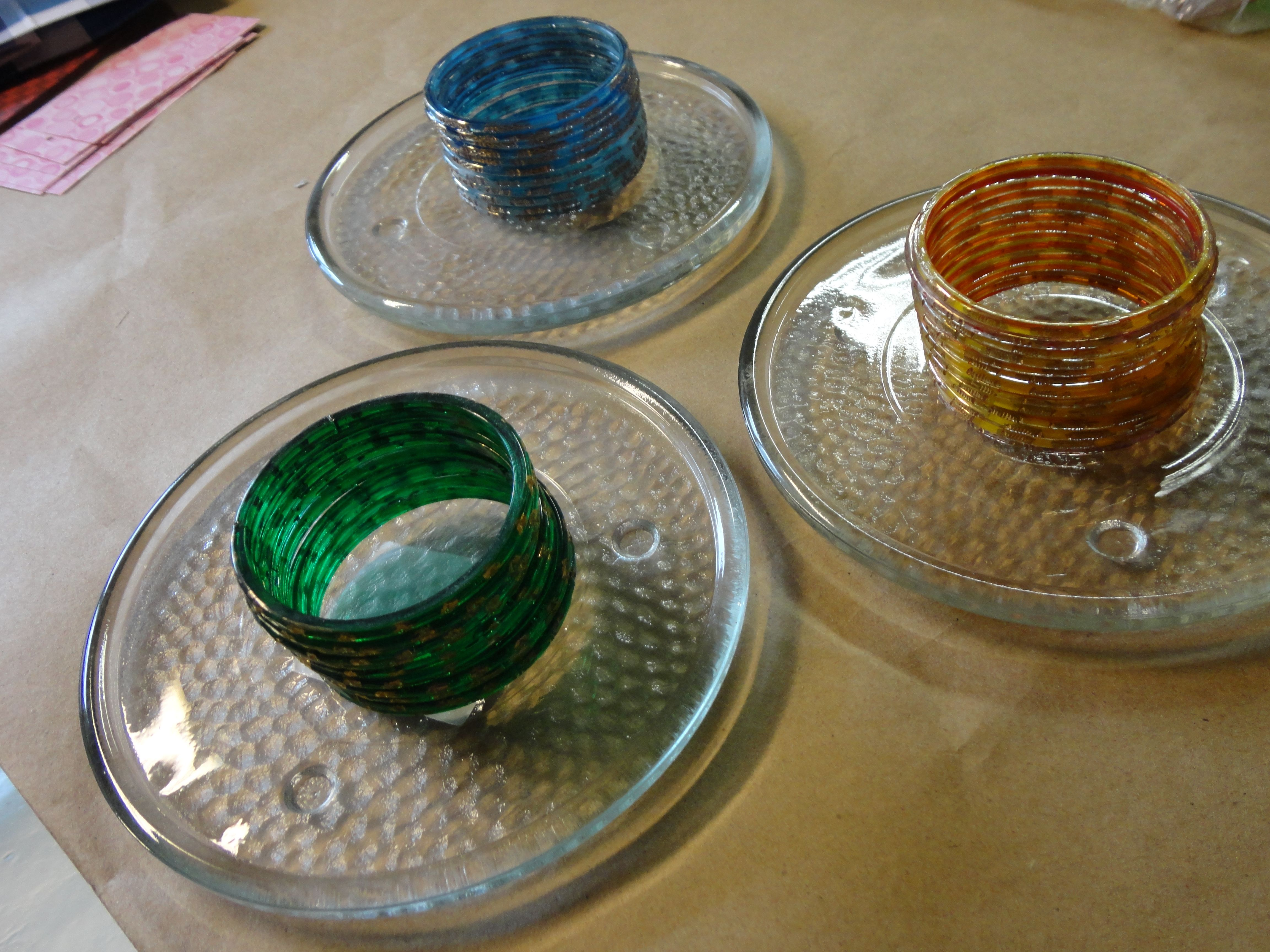 Making votives using glass bracelets and plates.