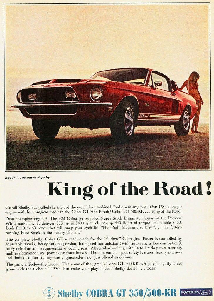 1968 Shelby Cobra Gt 350 500 Kr Ad 1968 Ford Mustangs
