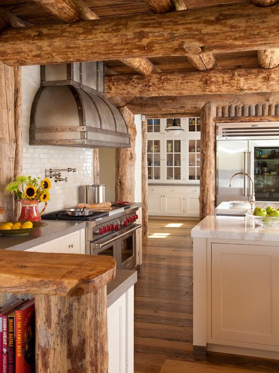 Log Home Design Interior Inspirations: Fabulous Kitchen Beams Ceiling Wooden Floor The Pointe On Andesite ~ gozetta.com Architecture Inspiration