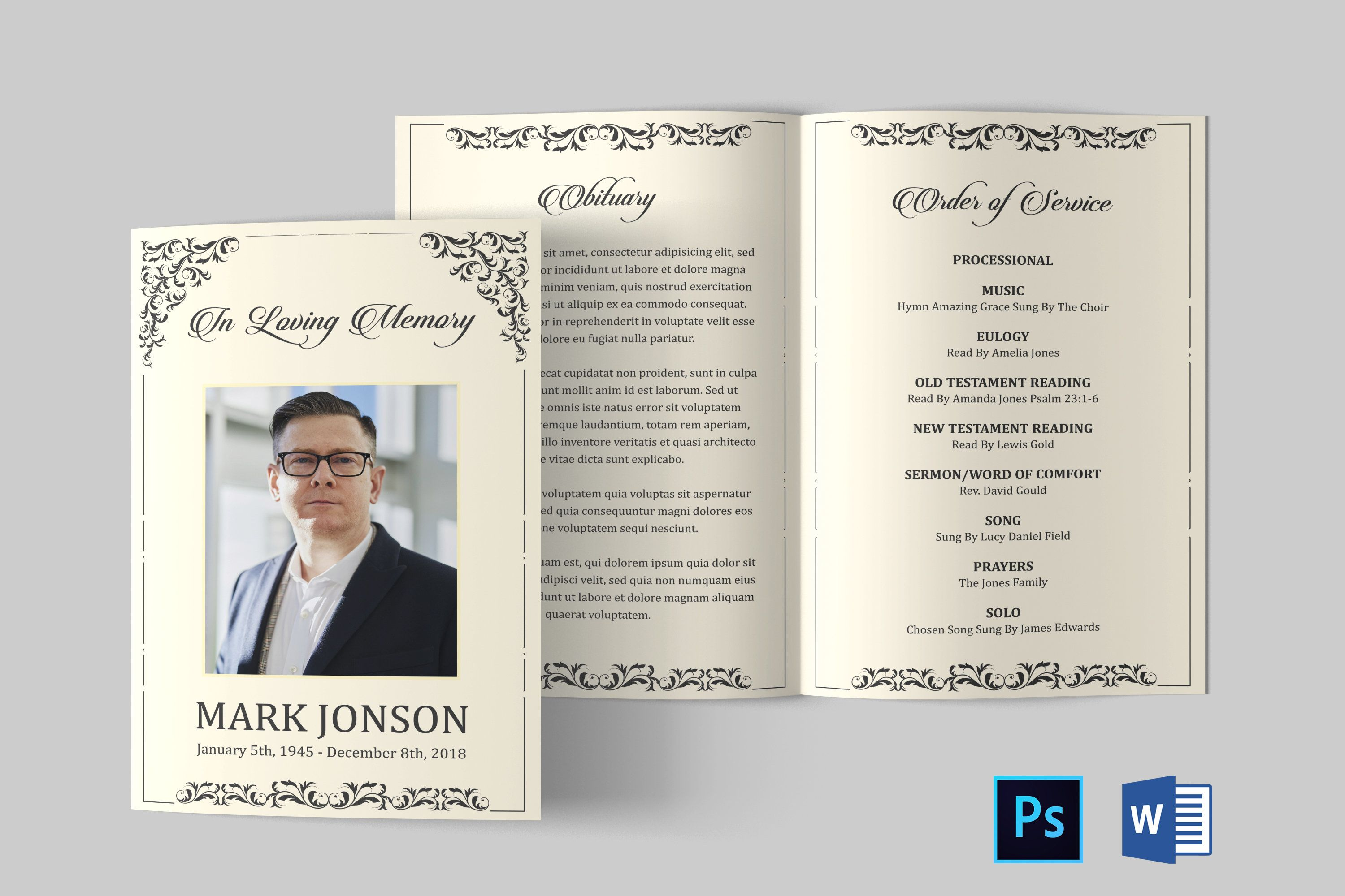Pin On Funeral Program Template