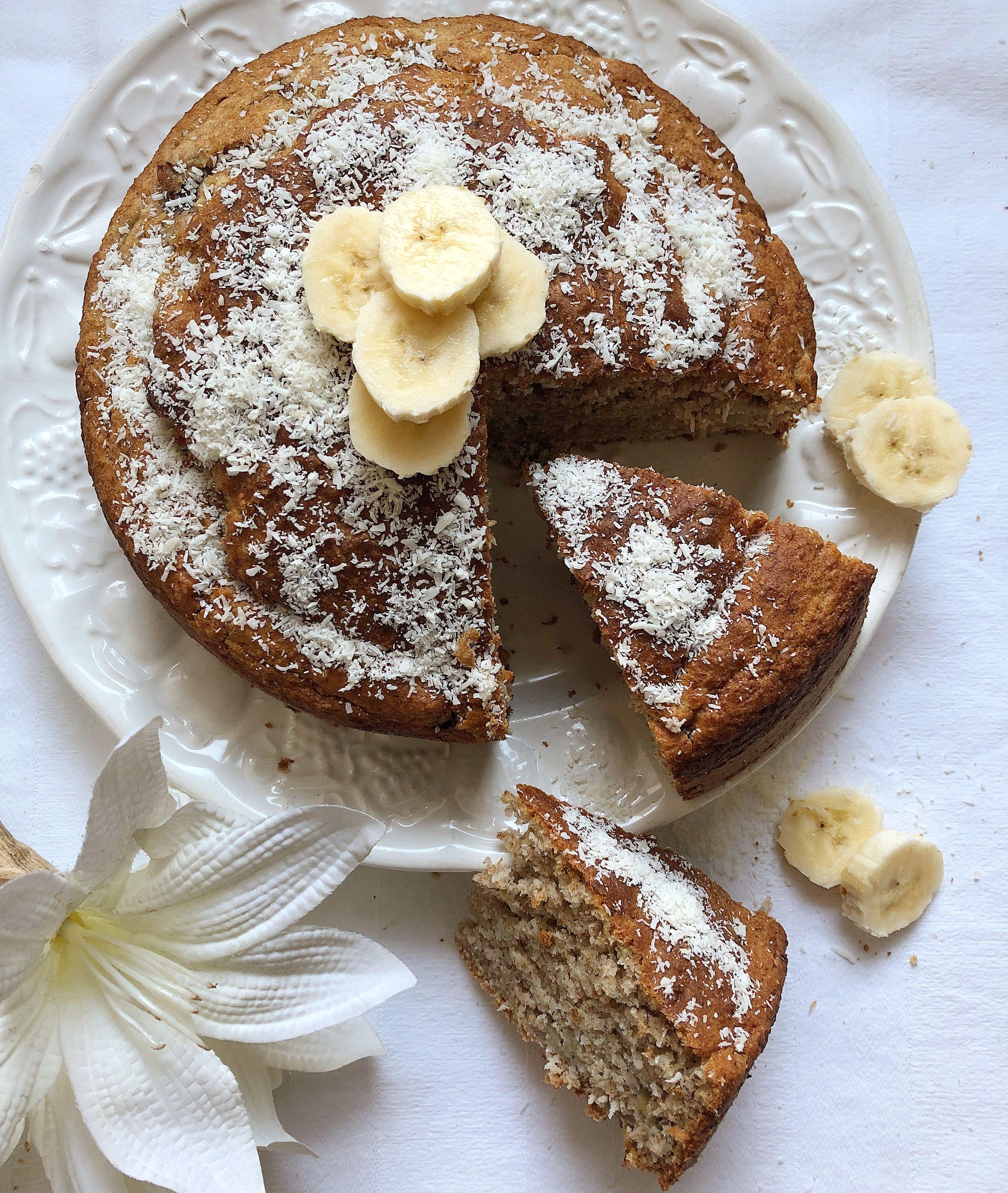 Dolci Senza Burro E Uova.Torta Di Banane E Cocco Senza Burro E Uova Nel 2019 Vegan