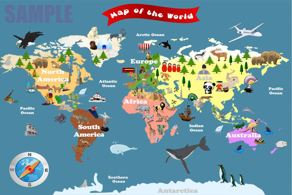 Personalized Laminated World Map For Kids Lets Explore - Map pictures for kids