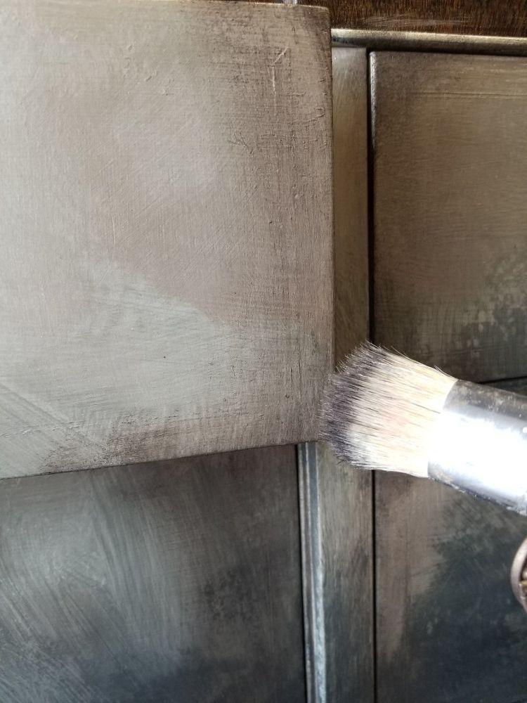 Diy Metallic Mahogany Transformation Brushed Metal Solid Wood Dresser Wood Spa