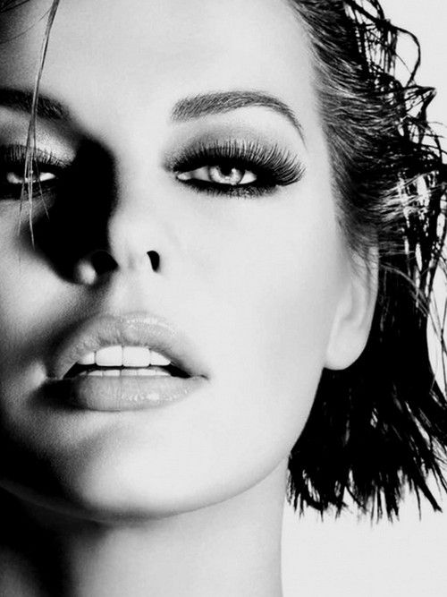 Milla jovovich editorial photography black and white portrait hooded eyes makeup