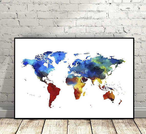 World map watercolor print world map poster watercolor modern world map watercolor print world map poster watercolor modern wall art home gumiabroncs Gallery