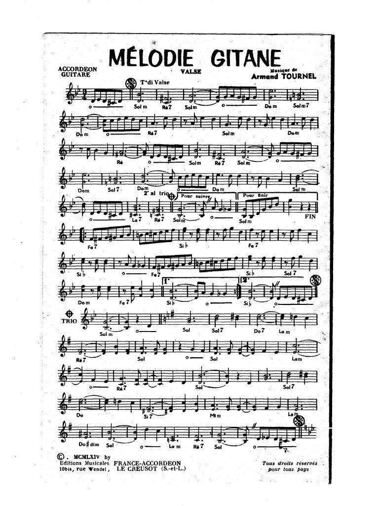 Partition accordéon gratuite mélodie gitane partition accordéon