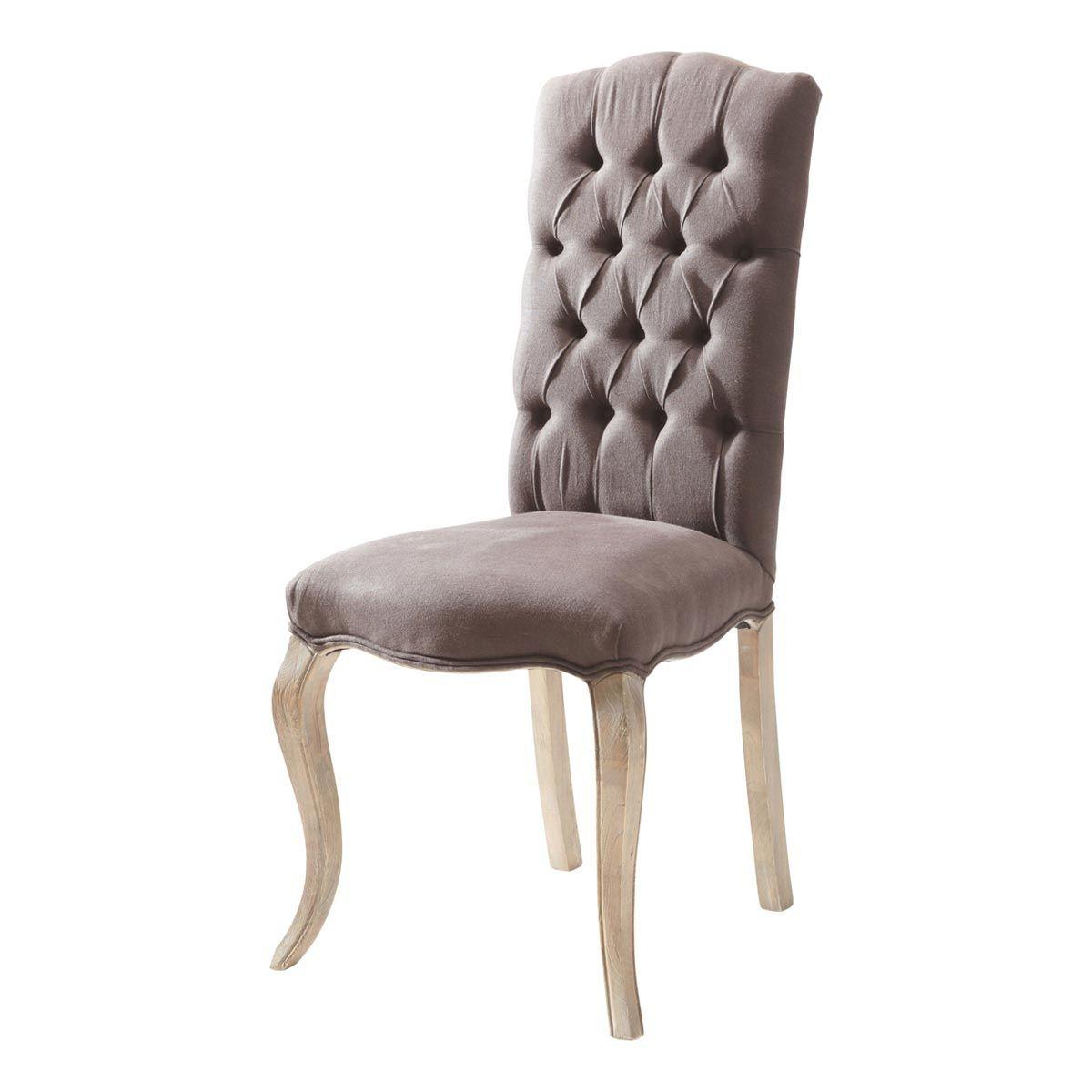 Chaise Capitonnee Lin Gris Anthracite Chloe Chair Linen Chair Furniture Chair