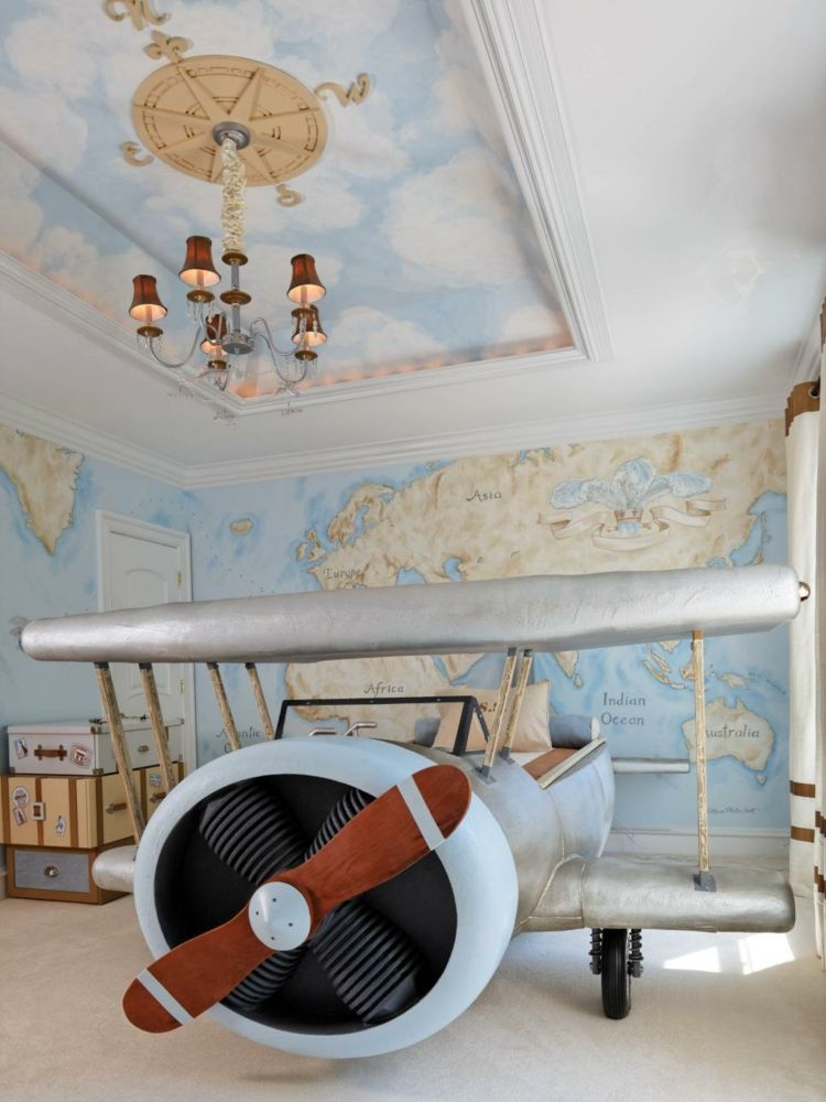 I Think The Plane Bed Is A Little Much But You Could Do This Same Thing With Map Of World As Wallpaper And An Airplane Mobile Hanging From