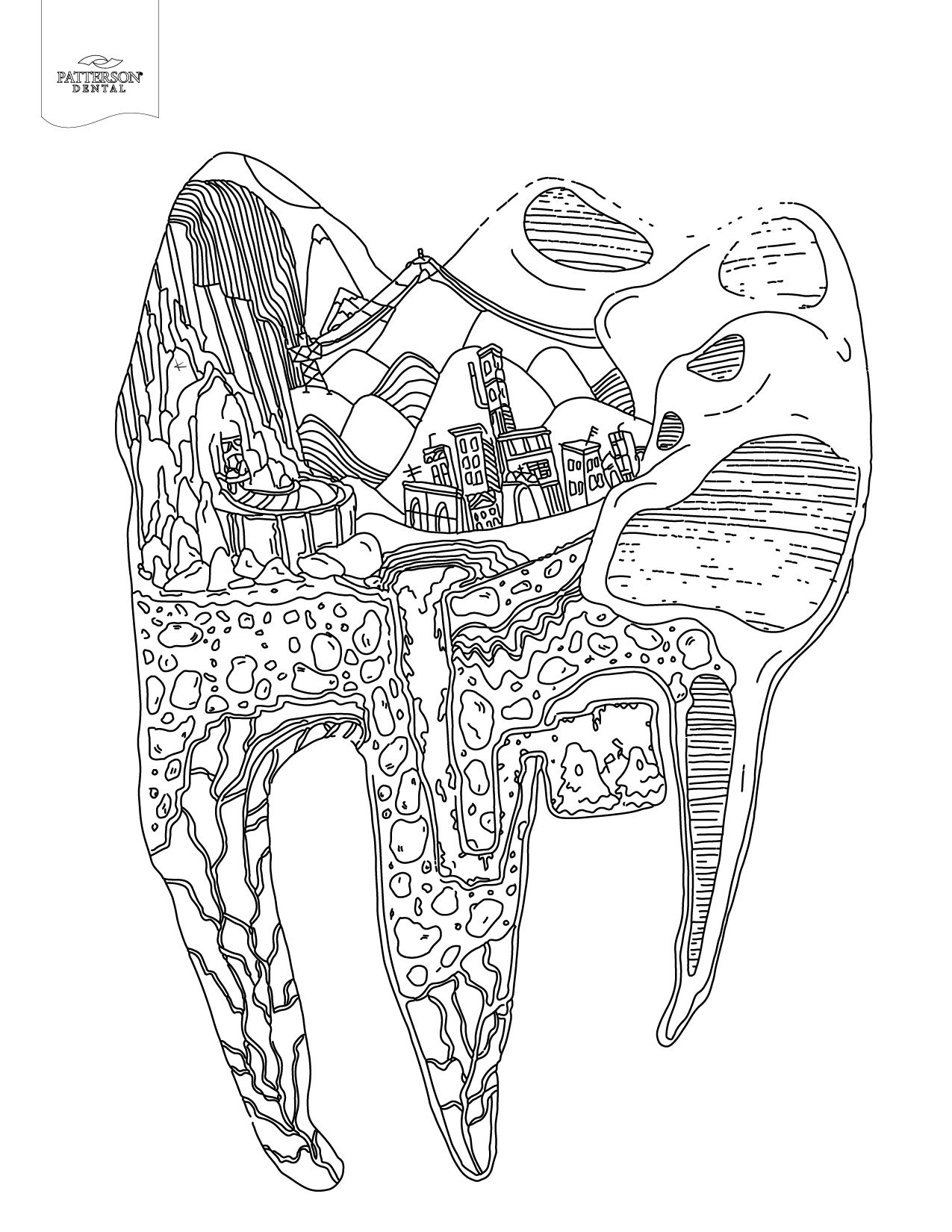 Are Complicated Systems Working Inside Every Tooth But We Didnt Realize One Of Those Was A Railroad Cityscape Adult Coloring Book Page