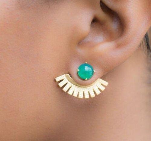 New Jcrew Style Vintage Fan Shaped Sapphire Brincos Double Studs Earrings Cuff #studearrings