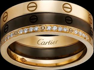 LOVE ring - Pink gold, ceramic, diamonds - Cartier