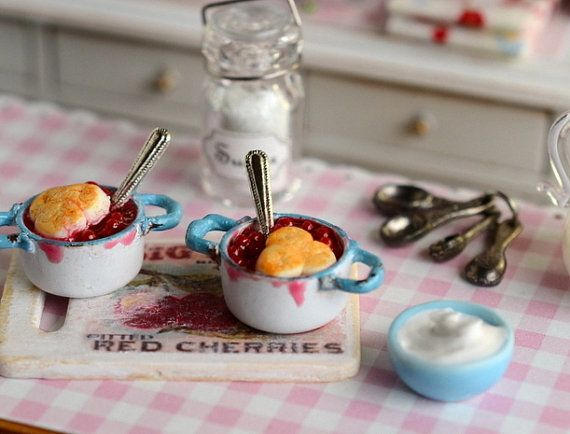 RESERVED-Miniature Cherry Cobbler in Shabby by CuteinMiniature