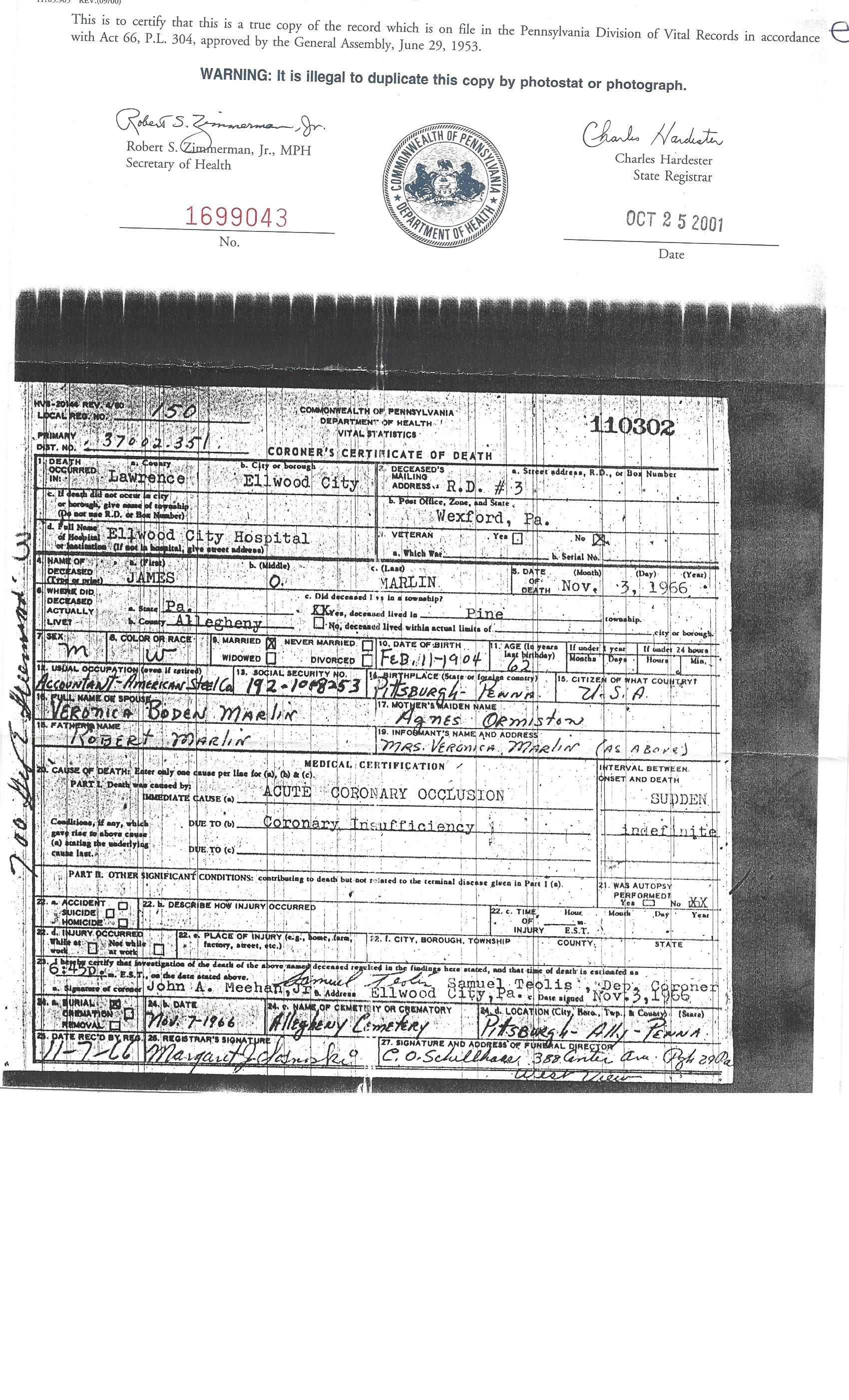 James o marlin death certificate married to second wife death certificate xflitez Images