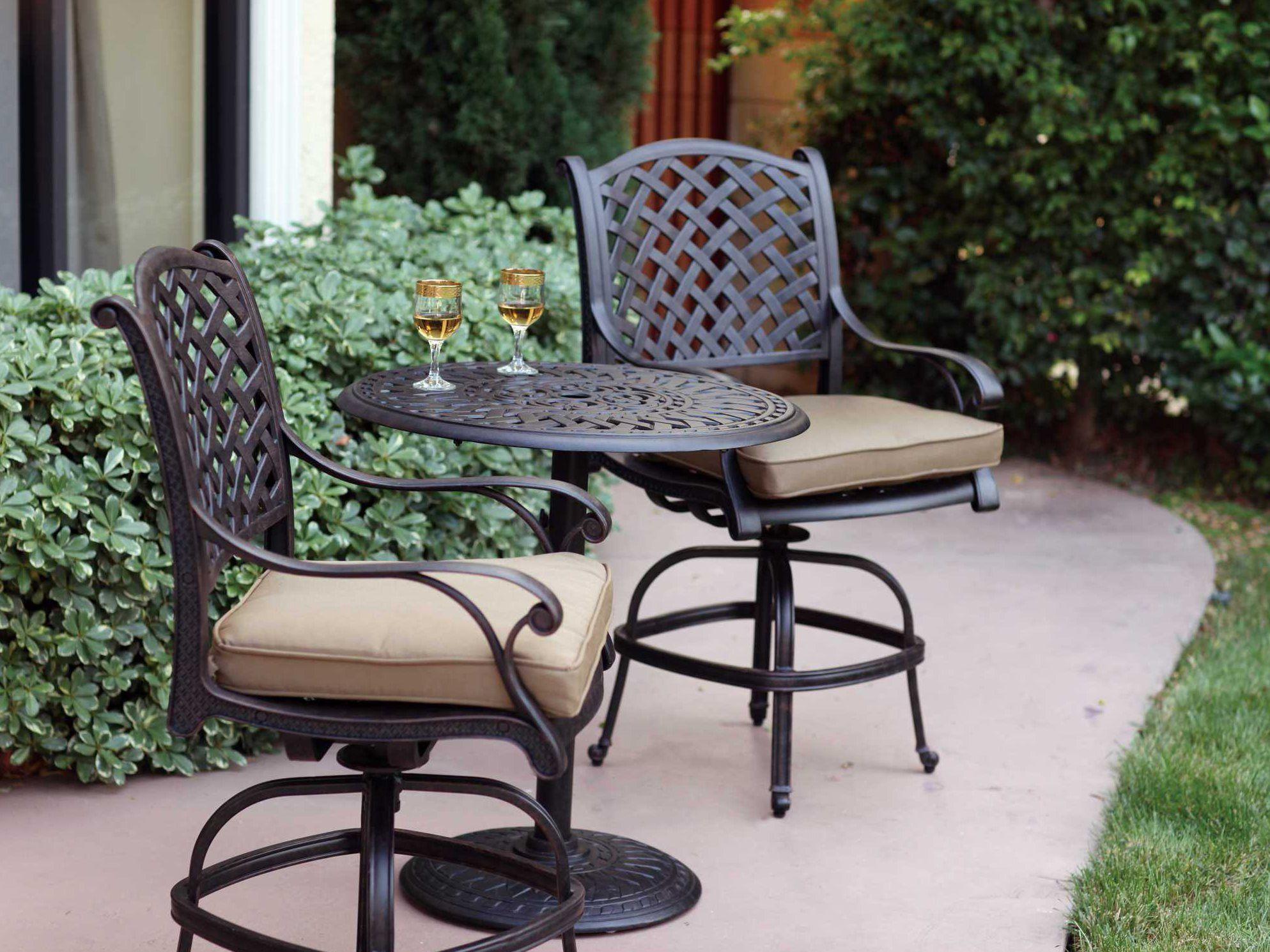 Darlee Outdoor Living Standard Nassau Cast Aluminum Antique Bronze Swivel Counter Height Stool Dl13 7ch Outdoor Bar Stools Modern Patio Furniture Patio Bar Set
