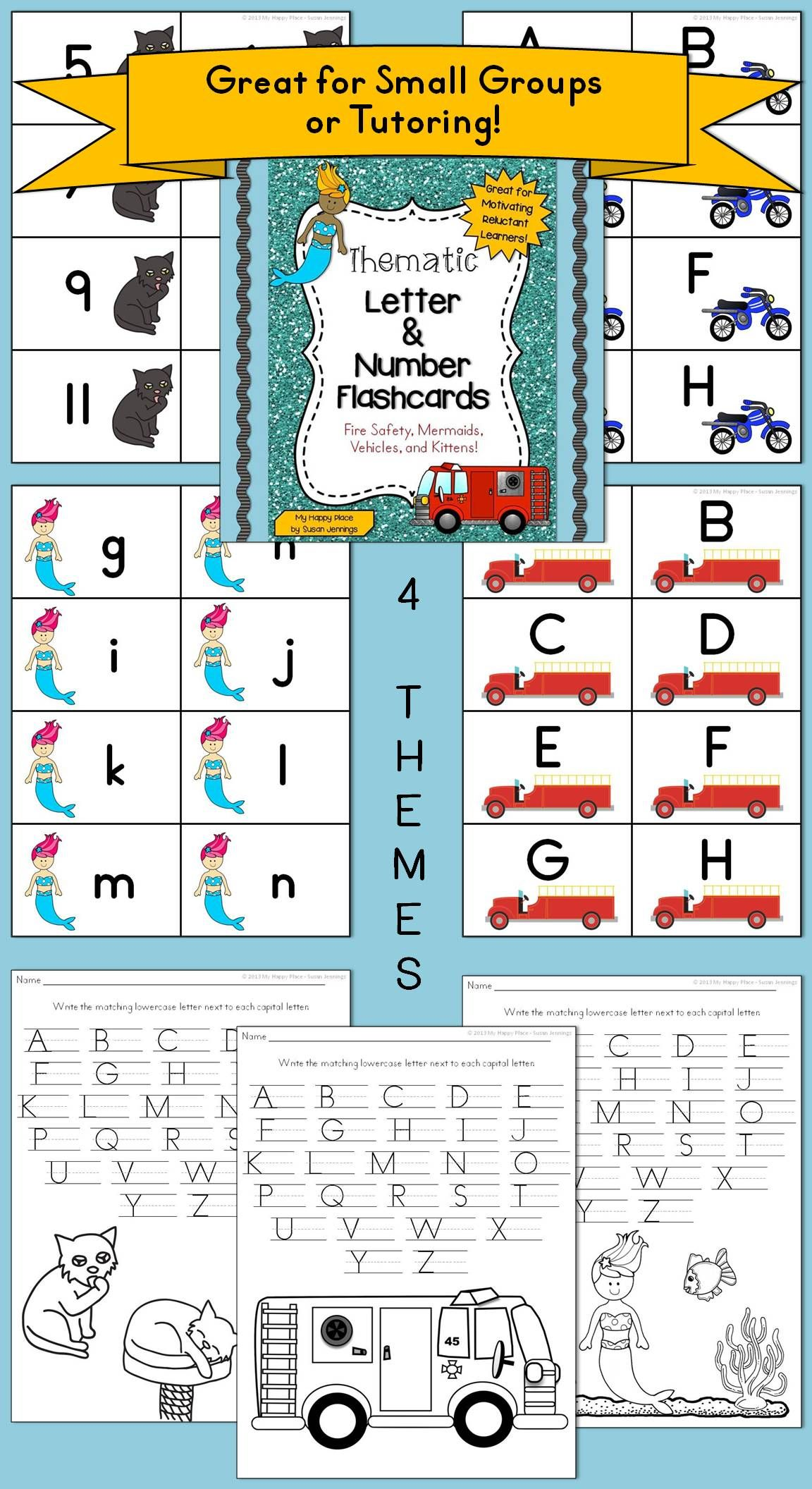 Thematic ABC & 123 - Flashcards: Fire Safety, Mermaids, Vehicles ...