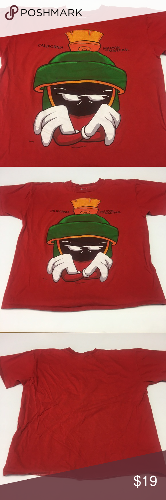 36f83b33d California Marvin the Martian T Shirt Vintage XL California Marvin the Martian  T Shirt Vintage 1993 Warner Bros. Graphic Tee Mens Womens Unisex Adult Size  ...