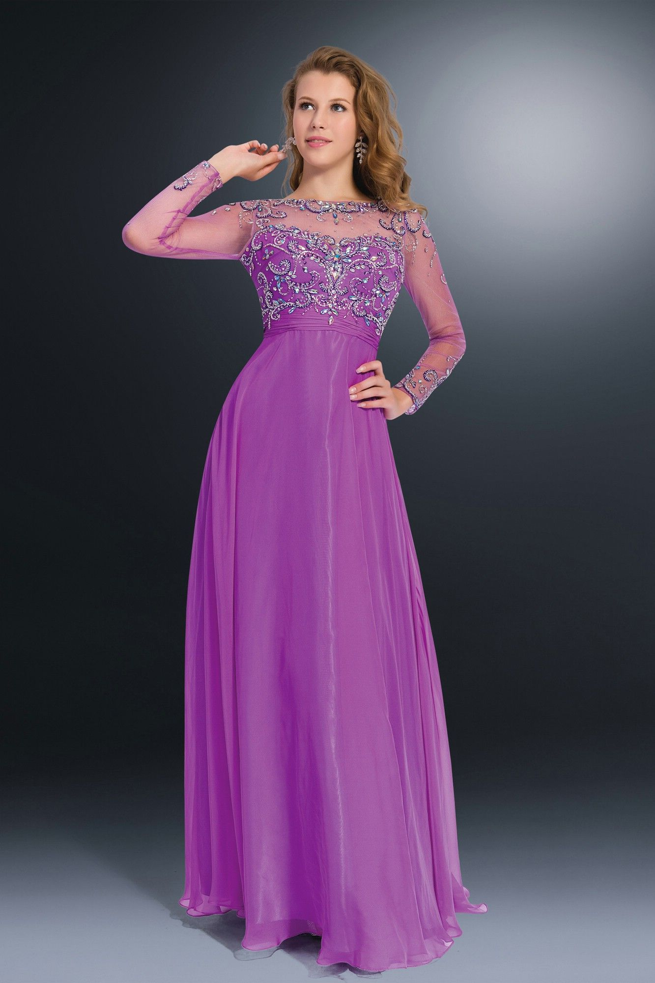 purple evening dresses with sleeves | Gommap Blog