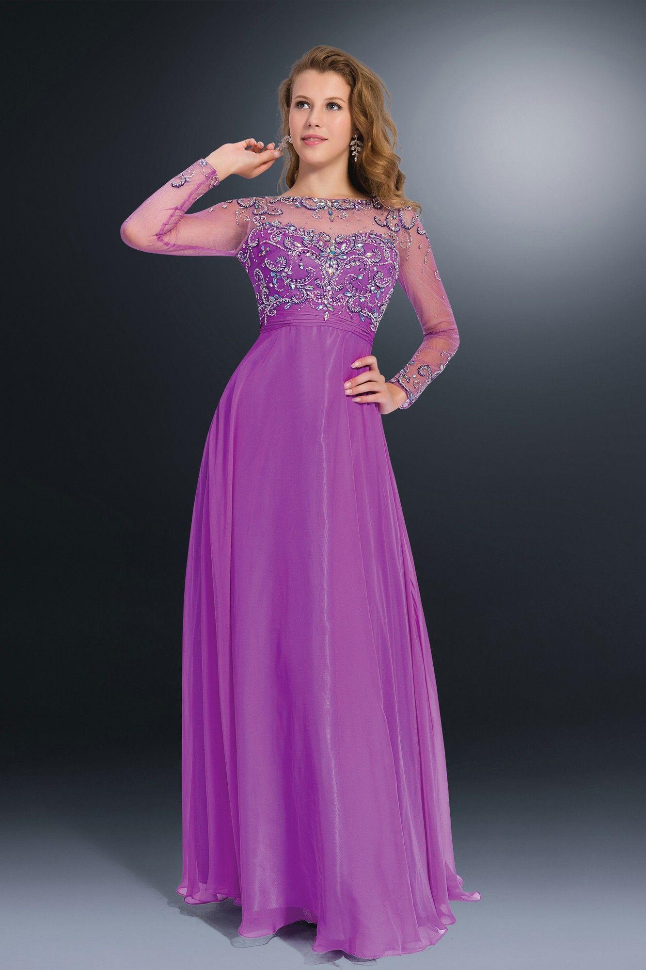 Long sleeves beaded backless purple prom dress | Women's Fashion ...