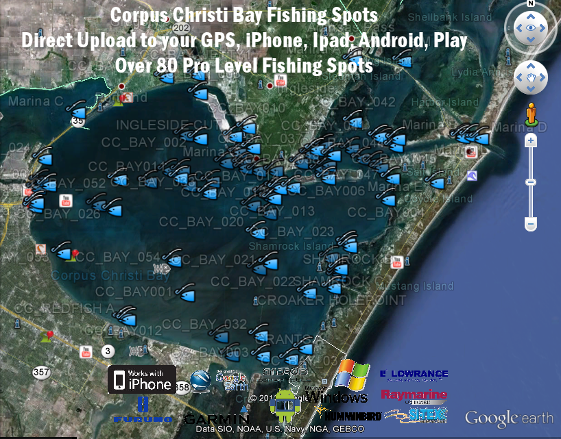 Corpus Christi Bay Fishing Map Texas Fishing Maps