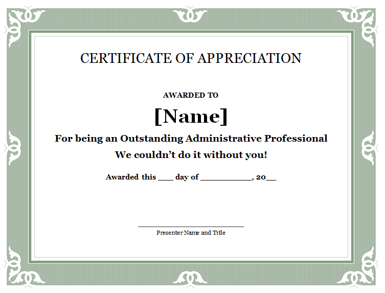 Certificate Of Appreciation   Certificates    Free